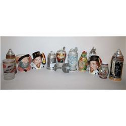 Lot of 14 misc. collector ceramic steins  including several Royal Doulton-made famous  personality s