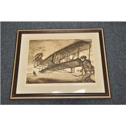 Lot of 7 misc. aviation-related pieces  including 6 framed and matted; one unframed,  including a pi
