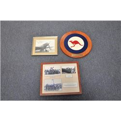 Lot of 3 aviation history pieces including a  framed set of photos from the RAF Eagle  Squadron 121