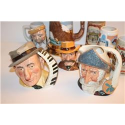 Lot of 9 misc. collector ceramic steins  including several Royal Doulton-made famous  personality st