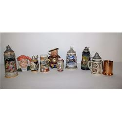 Lot of 11 misc. collector steins including  makers Royal Doulton, Staffordshire, etc.;  some limited