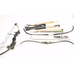 Large lot of three bows, arrows, quiver and  assorted accoutrements.  The lot includes;    an Excali