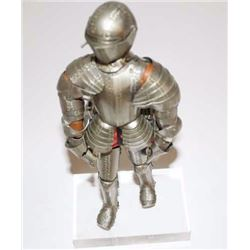 Nicely made miniature suit of armor;  articulated metal and decorated; no fingers;  ca. 1900-1940, o