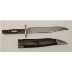 "J. Rodgers clip point Bowie with stag grips  and original scabbard. Measures 12"" overall  with a 8"""
