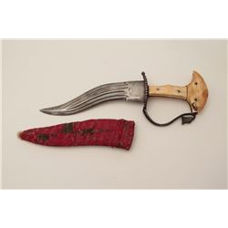 Early Indian khanjar dagger circa 18th to  19th century with original ivory grip, forged  steel guar