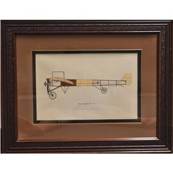 Lot of 2 beautifully framed and matted large  color prints, one of a 1909 Bleriot XI plane,  approxi