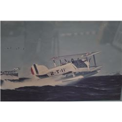 Beautifully framed and matted print of a  World War I American seaplane in action with  an aircraft