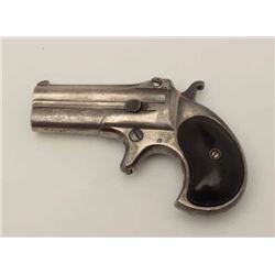 Antique Remington derringer with one line  address and traces of original nickel going  to gray meta