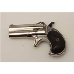 "Remington Double O/U derringer, type II,   .41RF short caliber, 3"" barrels, nickel  finish, checkere"