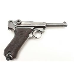 """Luger semi-automatic pistol, S/42 marked and  dated 1938, 9mm caliber, 4"""" barrel, blued  finish, che"""