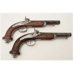 "Pair of French 1830's military style Officers  pistols of large bores; approximately 14""  overall wi"