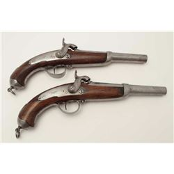 """Unusual military style percussion pistol  marked """"P.J. Malherbe A Liege""""; each  approximately 14"""" ov"""