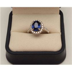 3.37 ct Sapphire set in 14K White Gold Ladies  Ring surrounding with 1 ct H-J color and  VS-1-Vs-2 Q