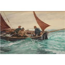 """Goache on artist board signed lower right  """"C.N.H. 1902"""" and also titled and signed on  the label mo"""