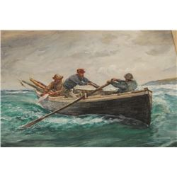 "Goache on artist board signed lower left  ""Charles Napier Hemy"" and dated 1900. Also  signed and tit"