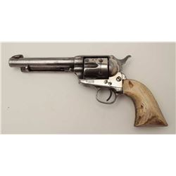 """Colt Single Action .44-40 caliber with 7 ½""""  barrel reduced to 5 ½"""" with blade and post  front sight"""