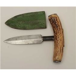 Extra-large push dagger with stag grip  showing inlaid and engraved brass plaque that  is inscribed