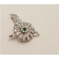 Antique platinum pin with 17 baguette  diamonds weighing 1 oz. CT and 47 round full  cut diamonds we