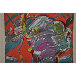 Signed and certified original oil on canvas  by Peter Max, famous Modernist. Letter from  Neal Georg