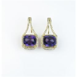 Spectacular ladies custom made earrings  featuring two extra fine VS quality Cabochon  Amethyst weig