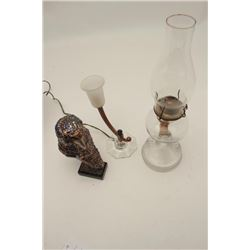 Lot consisting of antique kerosene lamp with  pressed glass body in near fine condition  along with