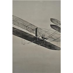 """Huge framed and matted copy of a photograph  of the Wright Brothers flight, approximately  51"""" x 40"""""""