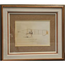 Lot of 2 large finely framed and matted color  prints including a 1907/1909 Wright Flyer,  approxima