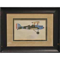 Lot of 2 beautifully framed and matted large  color prints, one of a 1917 S.E. 5 bi-plane,  approxim