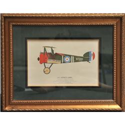 Lot of 2 beautifully framed and matted large  color prints, one of a 1917 Sopwith Camel  bi-plane ap