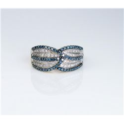 Dazzling ladies ring set with over 100 round  white and blue diamonds weighing approx. 1.00  carat s