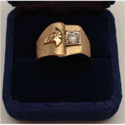 Art retro (1940s) men's ring in 14k showing  medical symbol. Set with small diamond. Gift  to medica