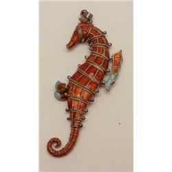 Vintage enamel on silver articulated sea  horse pendent purchased it Italy 1950s-60s.  Est.: $150-$3