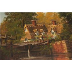 """Original oil painting signed Malcom Gearing  measuring 24"""" x 36"""" depicting a country  bridge and cot"""