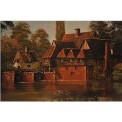 Original oil painting signed Malcom Gearing  showing red brick country home on a river.  Measures 20