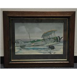 Lot of 3 aviation related items including a  framed and matted color print of a United Air  Lines bi