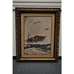 Large framed and matted pencil or charcoal  sketch of an aircraft carrier with 4 launched  bi-planes