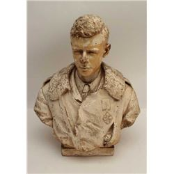 "Classic older bust of famous aviator Charles  Lindbergh, approximately 27"" in height; some  very min"