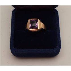 Antique men's ring in 14k marked gold ring.  1920-30s. Amethyst center stone has a blush  of lavende