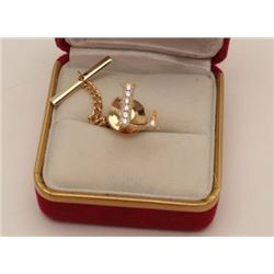 """14k (unmarked) """"L"""" tie tack set with diamonds  of Lee of Buddy's batting cages. Iconic S.F.  valley"""