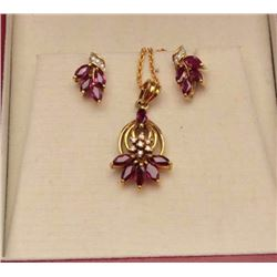 Chin Tec Lon Thailand made premier jeweler  ensemble. Pendant and earrings. 14k-18k with  rubies (Th