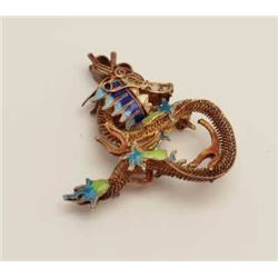 Vintage enamel of gilted silver pin of sea  horse. Est.: $