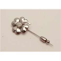 Vintage 1960's custom made by Tibor, Beverly  Hills platinum pin with 30PT round brilliant  high qua