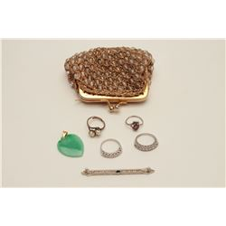 Bonanza lot of vintage jewelry in 1960's  evening purse. Jade heart pendent, diamond  band in 14 whi