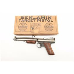 Benjamin pellet Target pistol in original two  piece cardboard box with tine of Steel Air  Rifle Sho