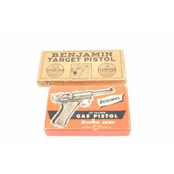 Lot of 2 cardboard two-piece empty pellet  pistol boxes, one for the Schimel Arms .22  caliber Gas P