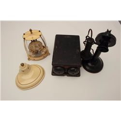 Vintage wall clock along with candlestick  phone and switch box showing patent date  1921. Est.: $10