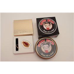 Betty Boop watch in tin box with cardboard  box. Minty. Este Lauder perfume in limited  edition bird