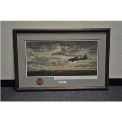 "Large framed and matted color print of a B17  entitled ""On Final Approach/Station  153/Framlingham/E"