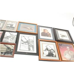 "Lot of 14 jet era aviation framed photos,  many signed by pilot like Col. Reto Sayer,  ""Ozzie"" Osegu"