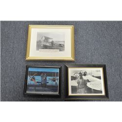 Lot of 7 misc. framed Commercial aviation  photos including signed photos by Skip Whipp,  Ed Dearbor